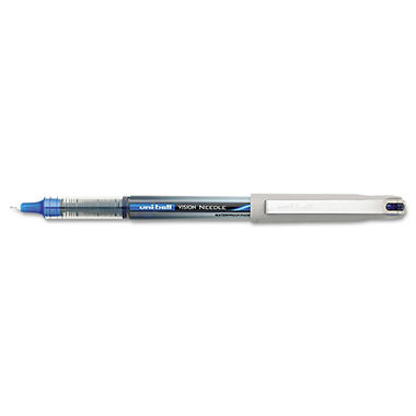 uni-ball - Vision Needle Roller Ball Stick Liquid Pen, Blue Ink, Fine - 12 Pens