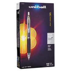 uni-ball Signo 207 Roller Ball Retractable Gel Pen, Black,  Medium Point, 12ct.