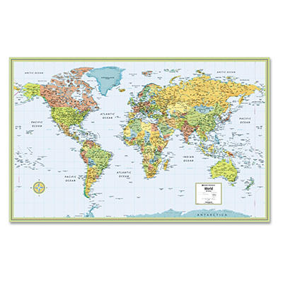 Rand McNally M-Series Full-Color Laminated World Wall Map, 50 x 32