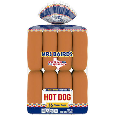 Mrs. Baird's Hot Dog Buns (6 in. ea, 16 ct.)