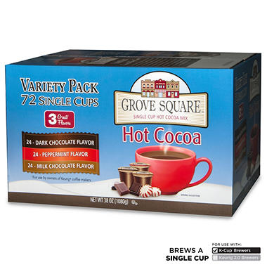 Grove Square Hot Cocoa Variety Pack, Single Serve (72 ct.)