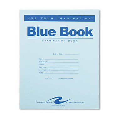 Exam Blue Book, Wide Rule, 8-1/2 x 7, White, 4 Sheets Per Pad