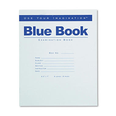 Exam Blue Book, Wide Rule, 8-1/2 x 7, White, 8 Sheets Per Pad