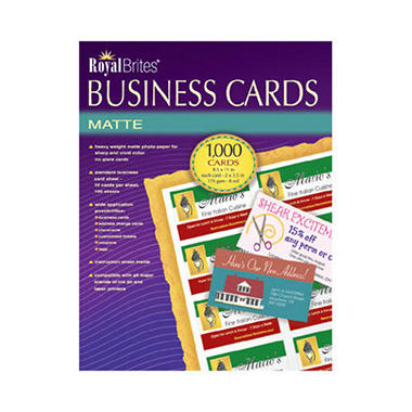Royal Brites - Business Cards, Inkjet, White - 1,000 Cards