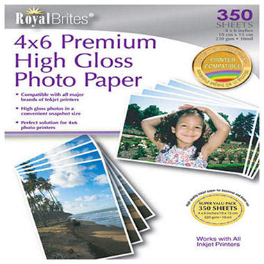RoyalBrites® High Gloss 4x6 Photo Paper - 350ct