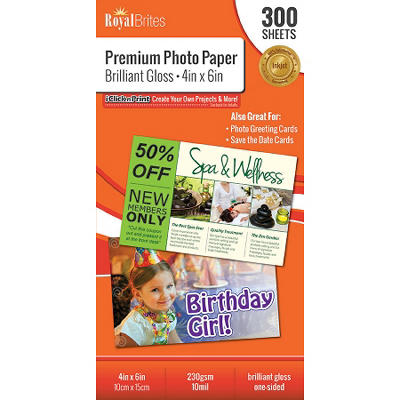 "Royal Brites Premium Brilliant Gloss Photo Paper - 4"" x 6"" - 300 ct."