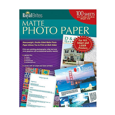 "Royal Brites - Photo Paper, Inkjet/Laser, 8-1/2 x 11"", Matte - 100 Sheets"