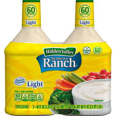 Hidden Valley Original Ranch Light Dressing (2 pk., 40 fl. oz. Bottles)