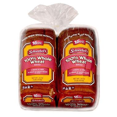 100% WHOLE WHEAT BREAD 2PK - 32OZ