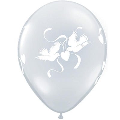 "11"" Latex Love Doves and Hearts Balloons - 100 ct."