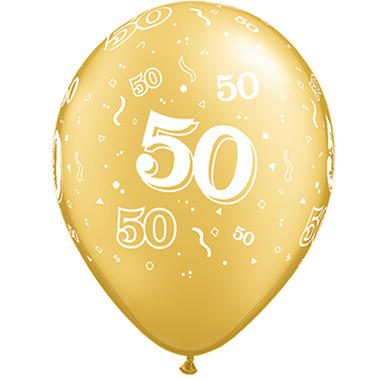 "11"" Latex Round Balloons - Gold - 50ct"