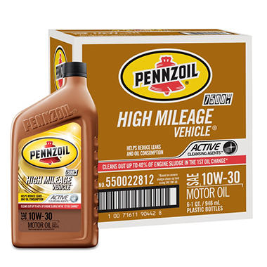 Pennzoil High Mileage Vehicle 10W-30 Motor Oil - 1 Quart Bottles - 6 Pack