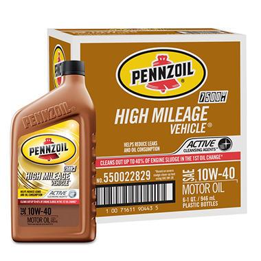 Pennzoil High Mileage Vehicle 10W-40 Motor Oil - 1 Quart Bottles - 6 Pack