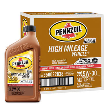 Pennzoil High Mileage Vehicle 5W-30 Motor Oil - 1 Quart Bottles - 6 Pack