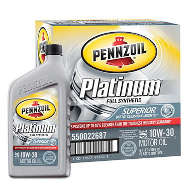 Pennzoil Platinum 10W-30 Motor Oil - 1 Quart Bottles - 6 Pack