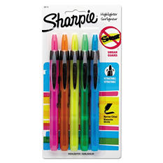 Sharpie - Retractable Highlighters, Chisel Tip, Assorted Fluorescent Colors - 5/Set