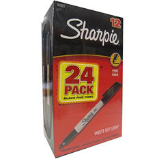 Sharpie Permanent Fine Tip Markers, Black, Pack of 24