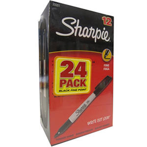 Sharpie Permanent Fine Tip Markers, Black (Pack of 24)
