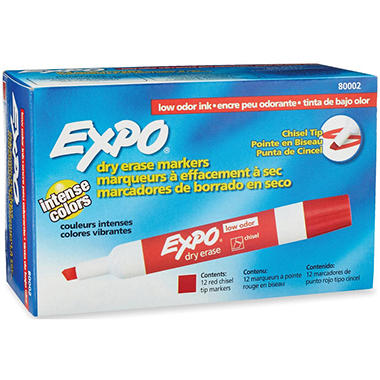 EXPO - Low Odor Dry Erase Marker, Chisel Tip, Red - 12 Pack