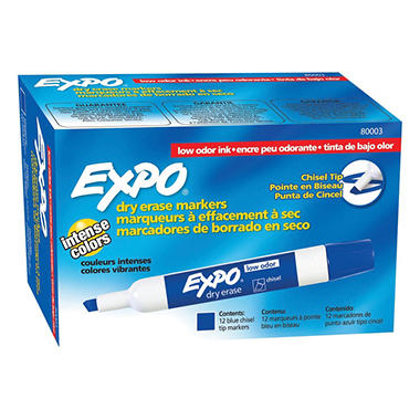 EXPO - Low Odor Dry Erase Marker, Chisel Tip, Blue - 12 Pack