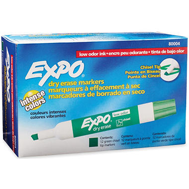 Expo - Low Odor Dry Erase Marker, Chisel Tip, Green - 12 Pack