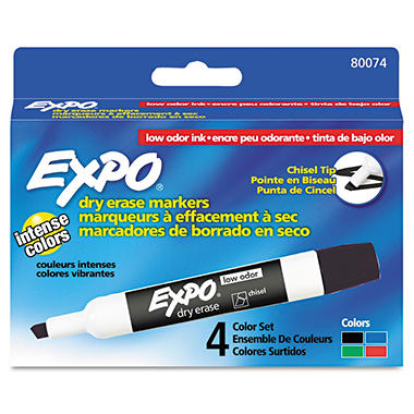 EXPO - Low Odor Dry Erase Markers, Chisel Tip, Basic Assorted - 4 per Pack