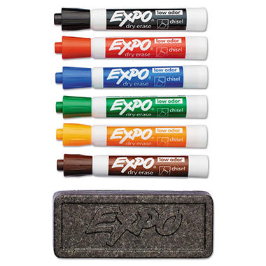EXPO Dry Erase Marker and Organizer Kit, Assorted Colors (Chisel Tip, 6 ct.)