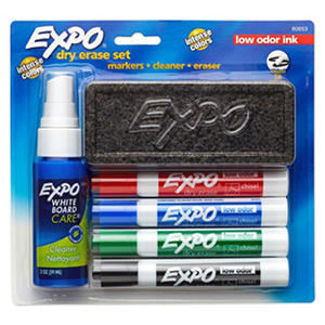 Expo - Low Odor Dry Erase Marker Starter Set, Assorted - 4 per Pack