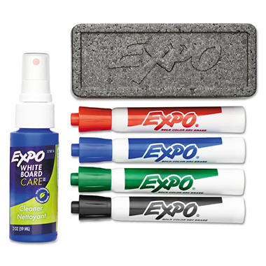 EXPO - Dry Erase Starter Set, Chisel Tip, Assorted - 4 per Pack