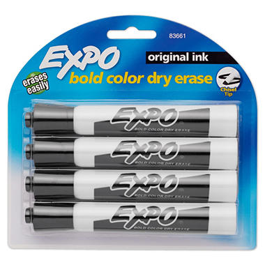 EXPO Dry Erase Markers, Black (Chisel Tip, 4 ct.)