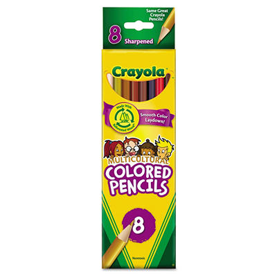 Crayola - Multicultural Colored Woodcase Pencils, 3.3 mm, Assorted Colors - 8 Pencils