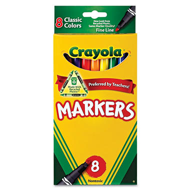 Crayola Non-Washable Markers, Fine Point, Classic Colors, 8 Pack