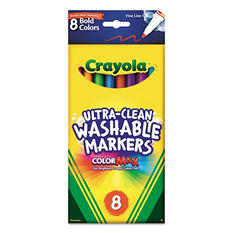 Crayola - Washable Markers, Fine Point, Bold Colors -  8/Set