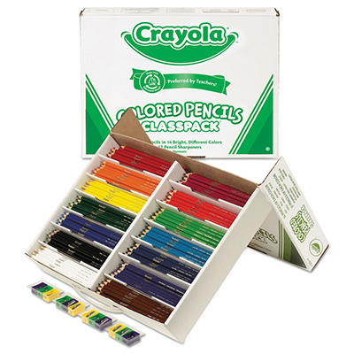 Crayola - Colored Woodcase Pencil Classpack, 3.3 mm, Assorted Colors - 462 Pencils