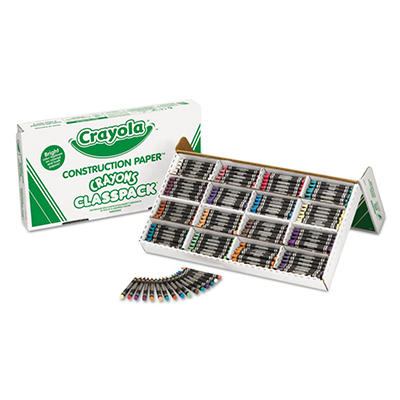 Crayola Construction Paper Crayons, Wax, 25 Sets of 16 Colors, 400 per Box