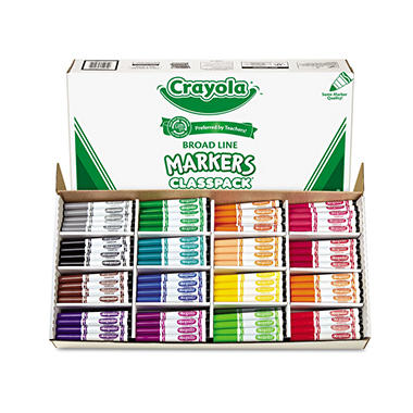 Crayola Non-Washable Classpack Markers, Broad Point, 16 Assorted Colors -  256/Box