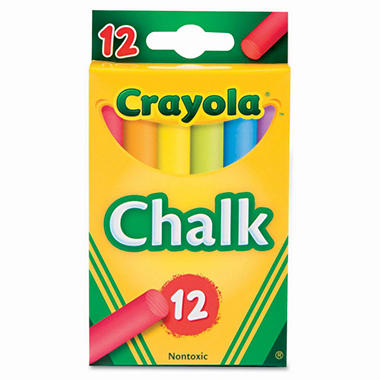 Crayola - Nontoxic Chalk, Assorted Colors, 12 Sticks per Box