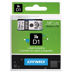 "DYMO - D1 Label Tape, 1/2"", Black on Clear"