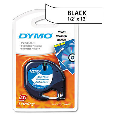 DYMO LetraTag - 91331 Plastic Label Tape, 1/2