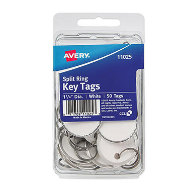 Avery Metal Rim Key Tags, Card Stock/Metal, 1-1/4