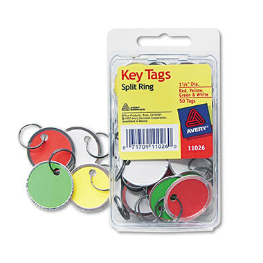 "Avery Metal Rim Key Tags, Card Stock/Metal, 1-1/4"" Diameter, Assorted Colors, 50 Tags"