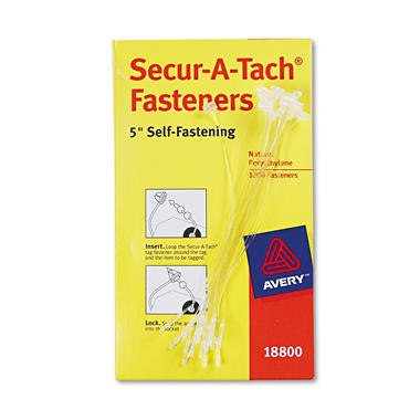 "Avery - Secur-A-Tach Tag Fasteners, Weatherproof Nylon, 5"" Long, 1,000 Pack"