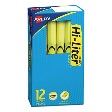 HI-LITER - Pen Style Highlighter, Chisel Tip, Fluorescent Yellow Ink - 12/Pack