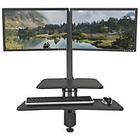 Balt Up-Rite Desk Mounted Sit to Stand Double Workstation, Dark Gray