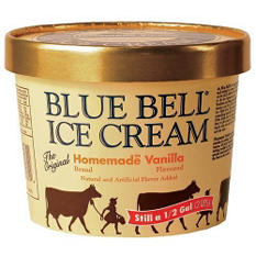 Blue Bell Gold Rim Homemade Taste Ice Cream - 1/2 gal.