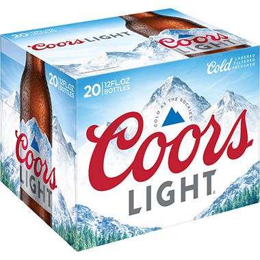 COORS LIGHT 20 / 12 OZ BOTTLES