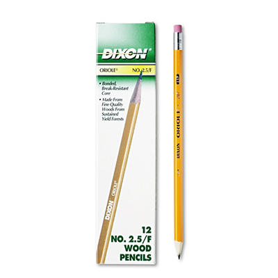 Dixon - Oriole Woodcase Pencil, F #2.5, Yellow Barrel -  12/Pack