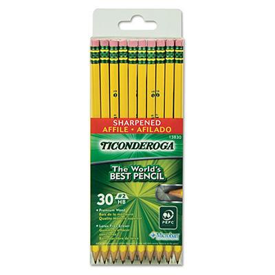 Ticonderoga - Pre-Sharpened Pencil, #2, Yellow Barrel - 30 ct.