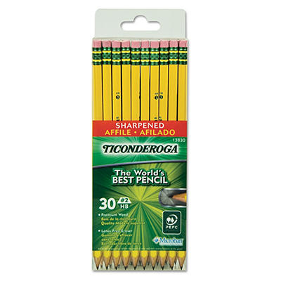 Ticonderoga - Pre-Sharpened Pencil, #2, Yellow Barrel - 30 ct.