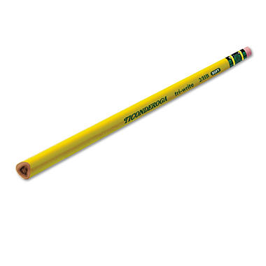 Ticonderoga Tri-Write Woodcase Pencil, HB #2, Yellow Barrel, 12ct.